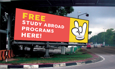 Free study abroad programs signboard